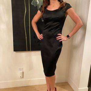Dolce & Gabbana Black Satin Sheath Dress- sz44 (4)